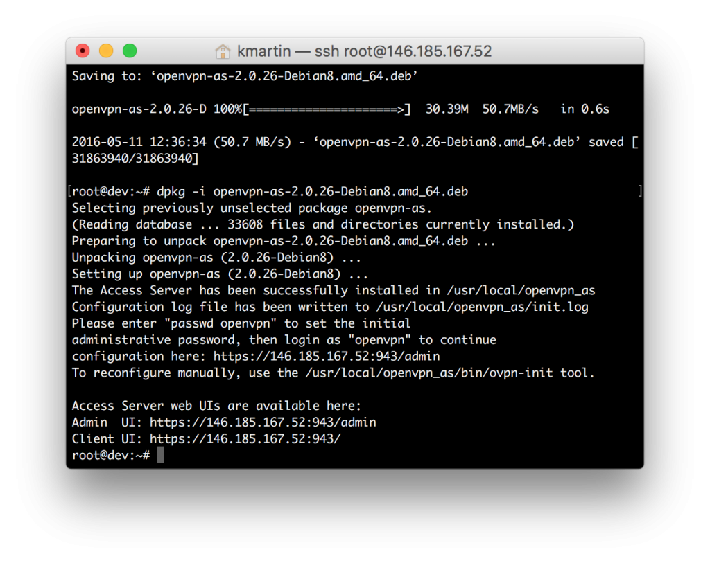 VPN install openvpn-as