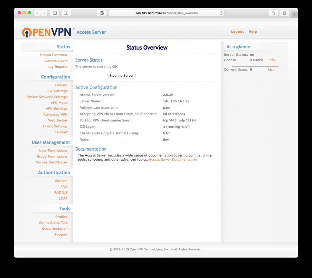 VPN openvpn-as admin