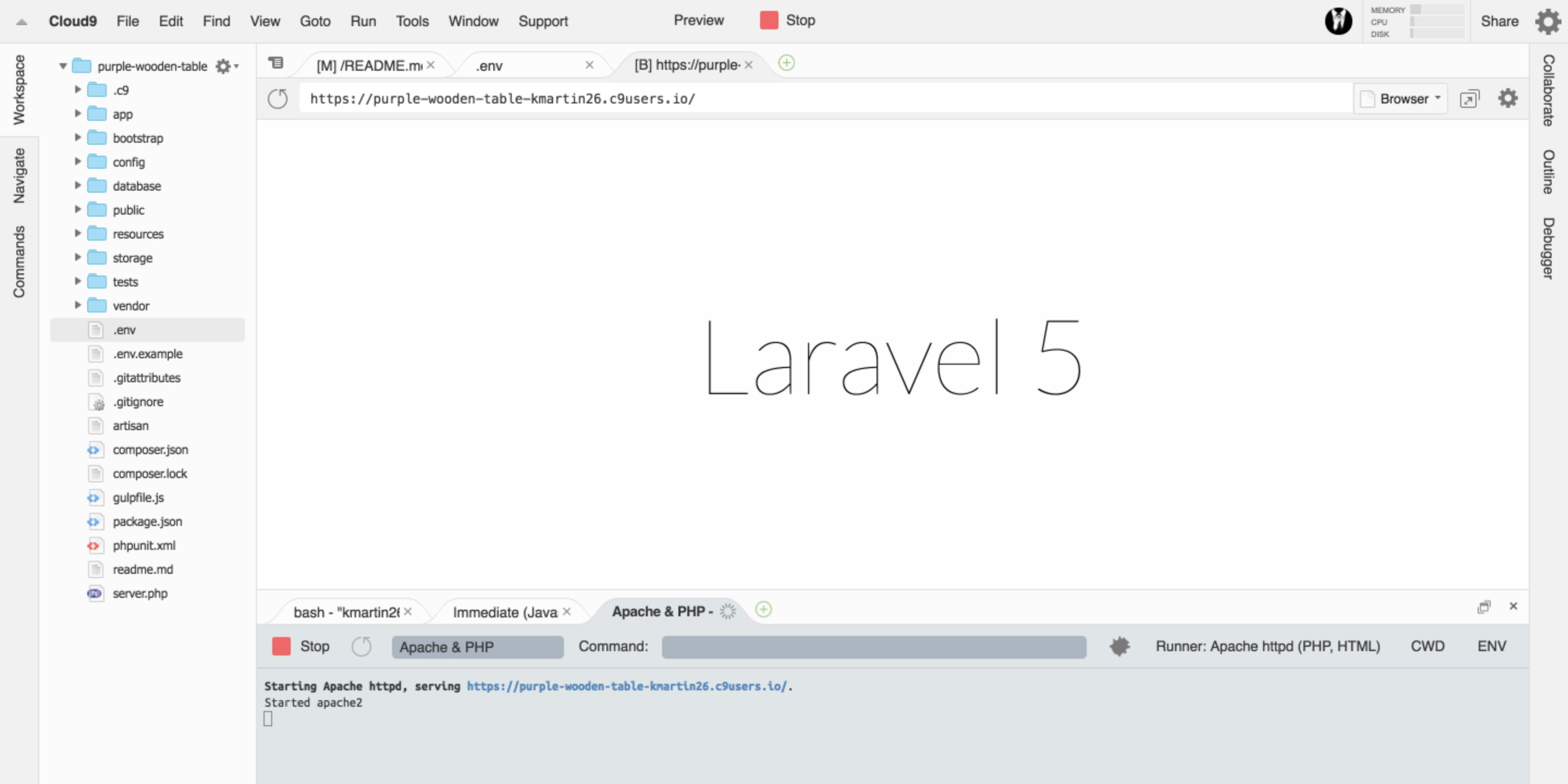 Laravel on Cloud9